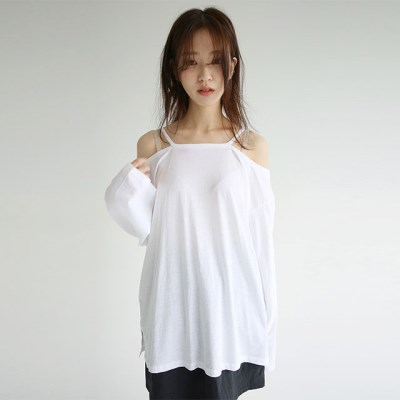 feminine shoulder loose tee (4colors)_(1297906)