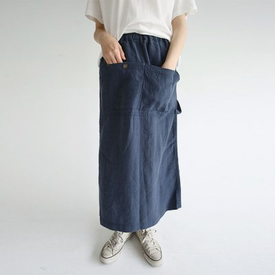 comfy shape pocket linen skirts (2colors)_(1297904)