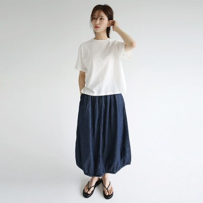 balloon silhouette vintage skirts (deepblue)_(1297901)