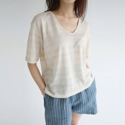 stripe v neck cotton tee (3colors)_(1298334)