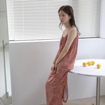 [치즈달] 넥 리본 리프 패턴 원피스