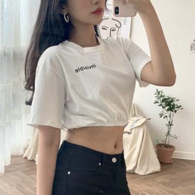 밴딩 크롭 반팔 티셔츠