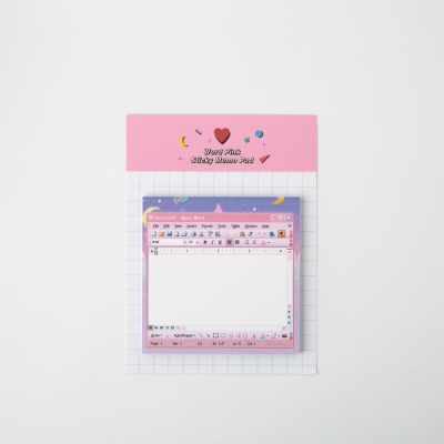 Word Pink Sticky Memo Pad