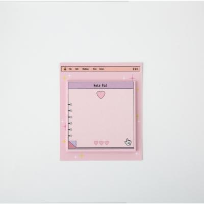 Pink Heart Window Sticky Memo-It
