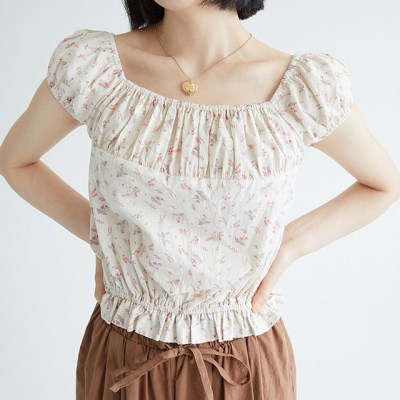 kitch flower banding blouse (3colors)_(1299635)