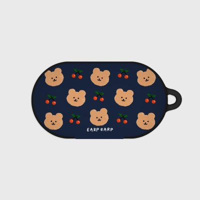 Dot cherry bear-navy(buds hard case)_(1220725)