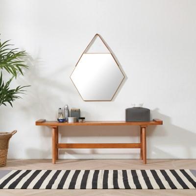 모닝 육각형 스트랩 벽걸이 인테리어 거울