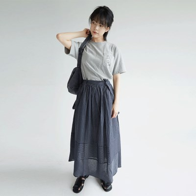 stripe easy wear cotton skirts (2colors)_(1302396)