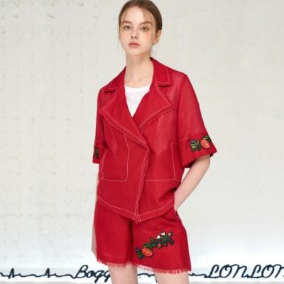 [JBREFINE] 플라워 자수 장식 레드 마 자켓