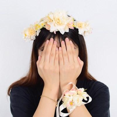 브라이덜샤워 화관 꽃팔찌 세트