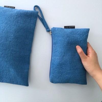 퀼팅 블루 미니 클러치(Quilting blue mini clutch)