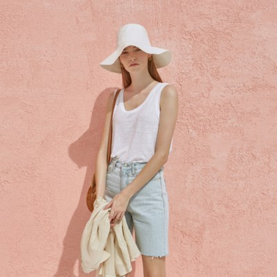 LINEN SLEEVELESS TOP_IVORY