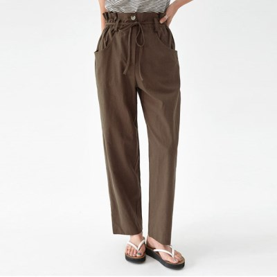 camel linen wide pants_(1302357)