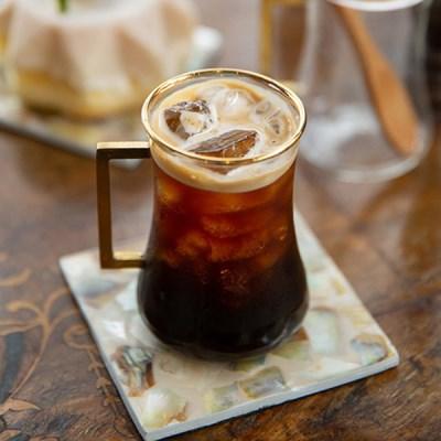 골드라인유리머그 / 예쁜 특이한 내열 유리 컵 잔 카페 홈카페
