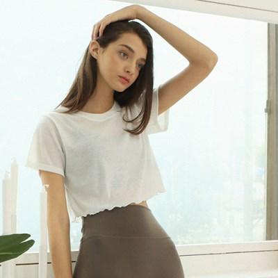 여성 요가복 DEVI-T0018-화이트 필라테스 티셔츠 반팔 홀릭크롭티