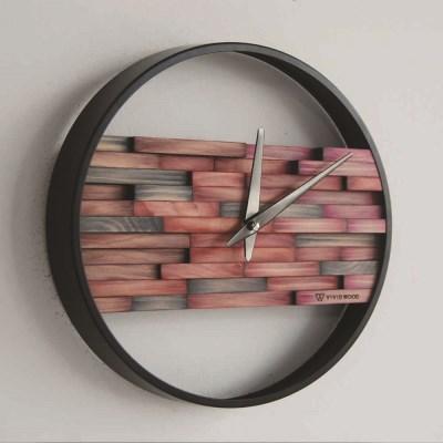비비드우드 무소음 염색나무 로즈버건디 원목벽시계