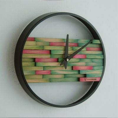 비비드우드 무소음 염색나무 그리너리 원목벽시계