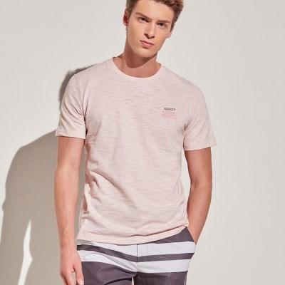 아르고 캘리포니아 반팔 면 티셔츠 상의 핑크