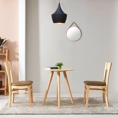 브라우니 2-4인  원형 식탁 티테이블 세트(의자2개포함)