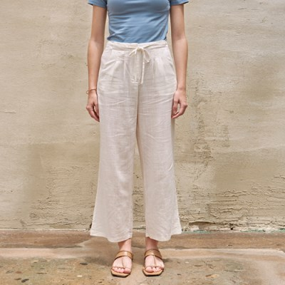 STRING LINEN WIDE PANTS_IVORY