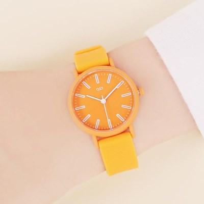 형광 오렌지 패션젤리 남녀공용 커플시계 OTC319733ROO
