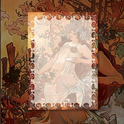 알폰스 무하 사계 : 가을 명화 떡메모지