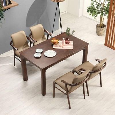 키요 고무나무 원목 식탁 세트 4인용 의자형 A_(1255154)