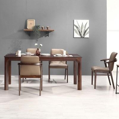 키요 고무나무 원목 와이드 식탁 세트 4인용 의자형 A_(1255152)