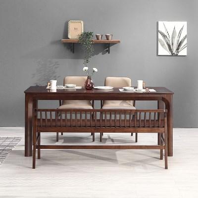 키요 고무나무 원목 와이드 식탁 세트 4인용 벤치형 A_(1255151)