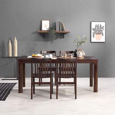 키요 고무나무 원목 와이드 식탁 세트 4인용 의자형 B_(1255146)