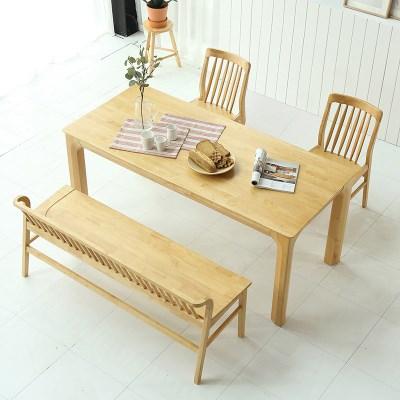 키요 고무나무 원목 와이드 식탁 세트 4인용 벤치형 B_(1255145)