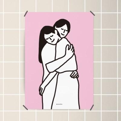 유니크 인테리어 디자인 포스터 M 허그 hug