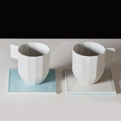 프리폼 가죽양면 코스터 컵받침 4p세트