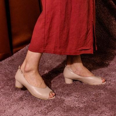 Frill open toe pumps (Skin Pink)