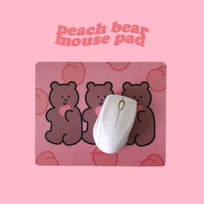 [뮤즈무드] peach bear mouse pad
