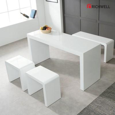 리치웰 하이그로시 모던 멀티일자 식탁 테이블 1500 (의자별도)