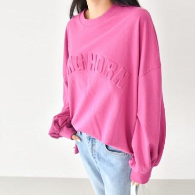 가을 퍼프소매 박스 박시 맨투맨 티셔츠 (핑크 노란색 블랙)