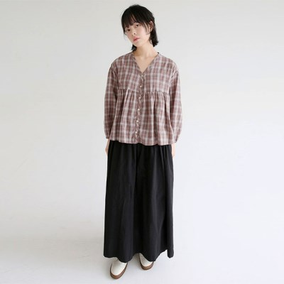 cutie v neck check blouse (2colors)_(1320894)