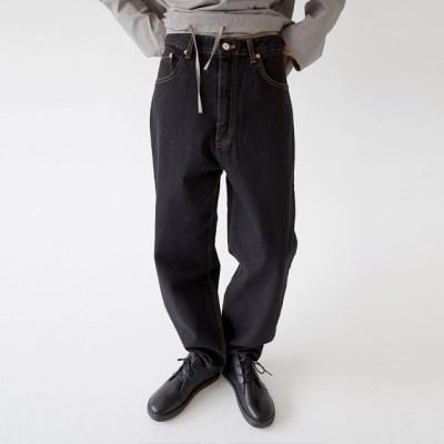 solid denim straight pants (black)_(1320885)