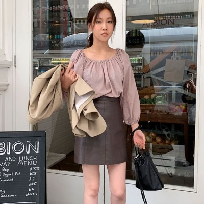 tell leather mini skirt (s, m)_(1323150)