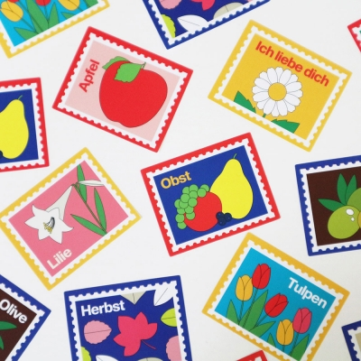 Full sheet Stamp sticker - Fruit / Flower / Plant (우표스티커)