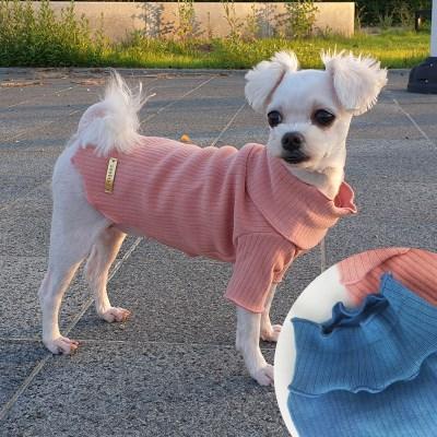 스누드 골지 폴라 티셔츠 적당한 두께감 파스텔 색상 강아지옷