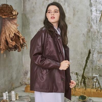 Grace Short Leather Jacket Burgundy