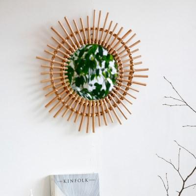 라탄 벽거울 원형