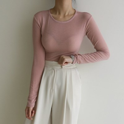 여리여리 텐셀 여름 시스루 쫀쫀 슬림핏 긴팔 티셔츠