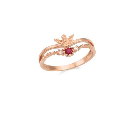[탄생석] 쁘띠 티아라 투라인 10K 골드 반지 CLR19806T