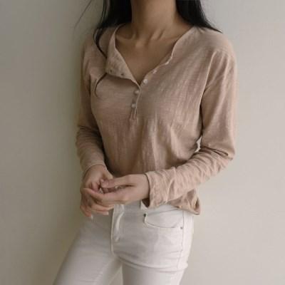 여자 슬라브 여리여리 단추 여름 무지 긴팔 티셔츠