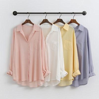 파스텔 언발 여름 롱 긴팔 블라우스 셔츠 남방 (레몬 소라 흰 핑크)