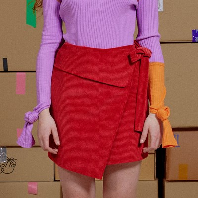 CORDUROY WRAP TIE SKIRT_RED (EEON3SKR03W)