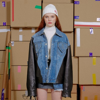 DENIM LEATHER COMBINATION JACKET_BLUE (EEON3JKR02W)